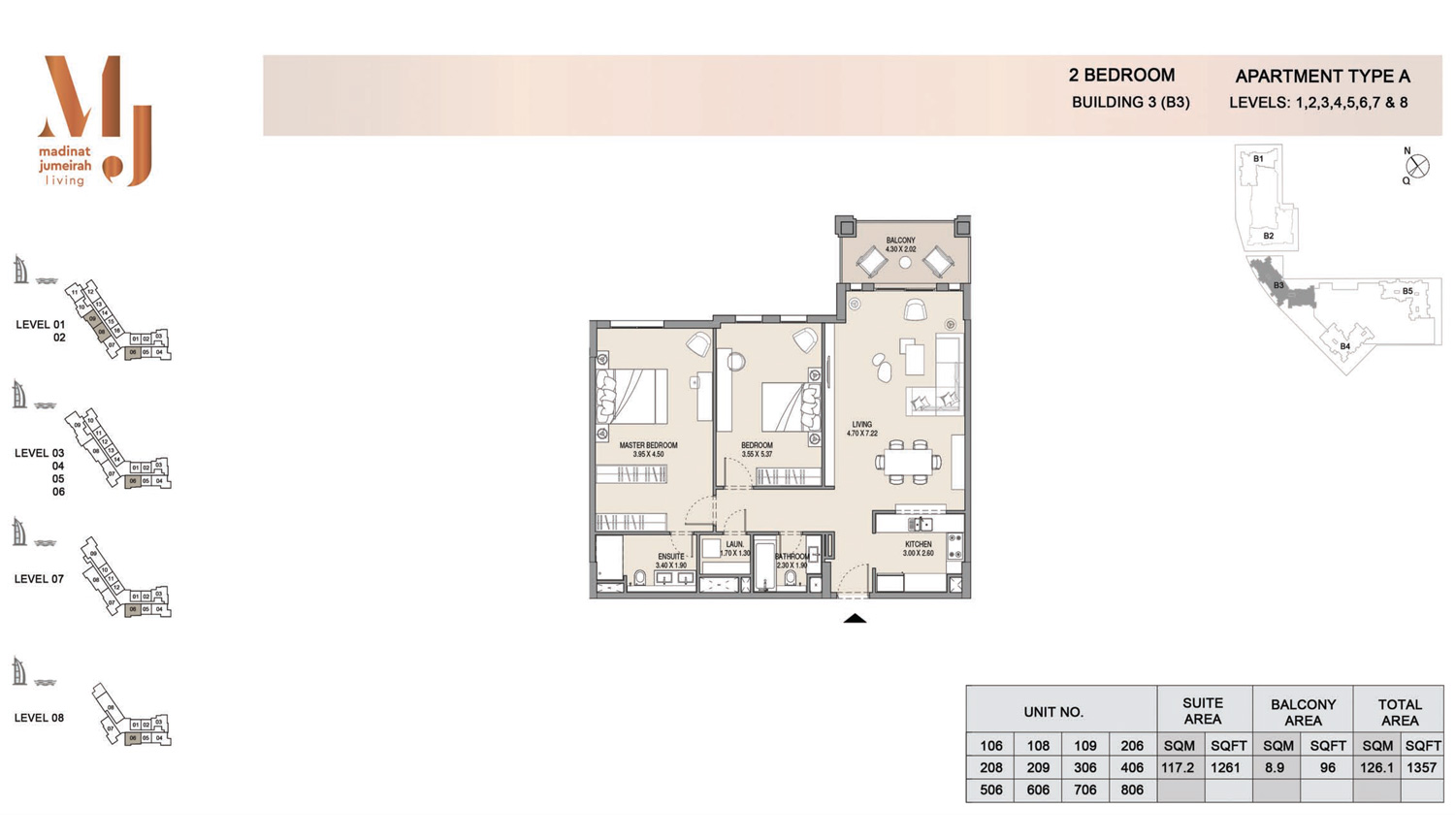 Building3 2 Bedroom, Type A2, Levels 1 to 8, Size 1357 sq.ft