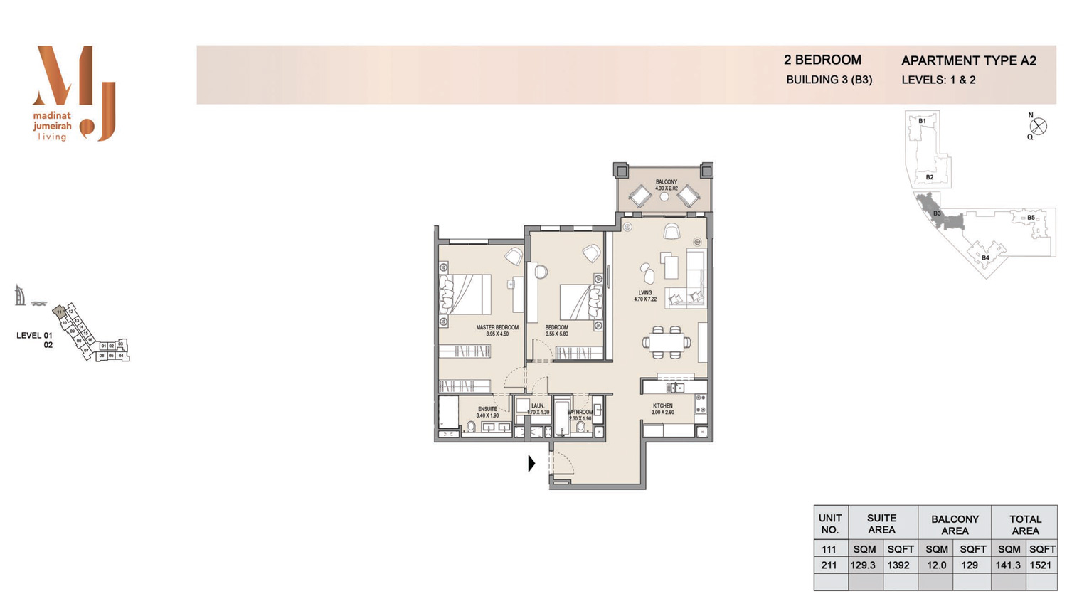 Building3 2 Bedroom, Type A2, Levels 1 to 2, Size 1521 sq.ft