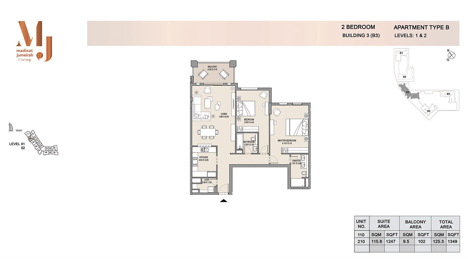 Building3 2 Bedroom, Type A2, Levels 1 to 2, Size 1349 sq.ft