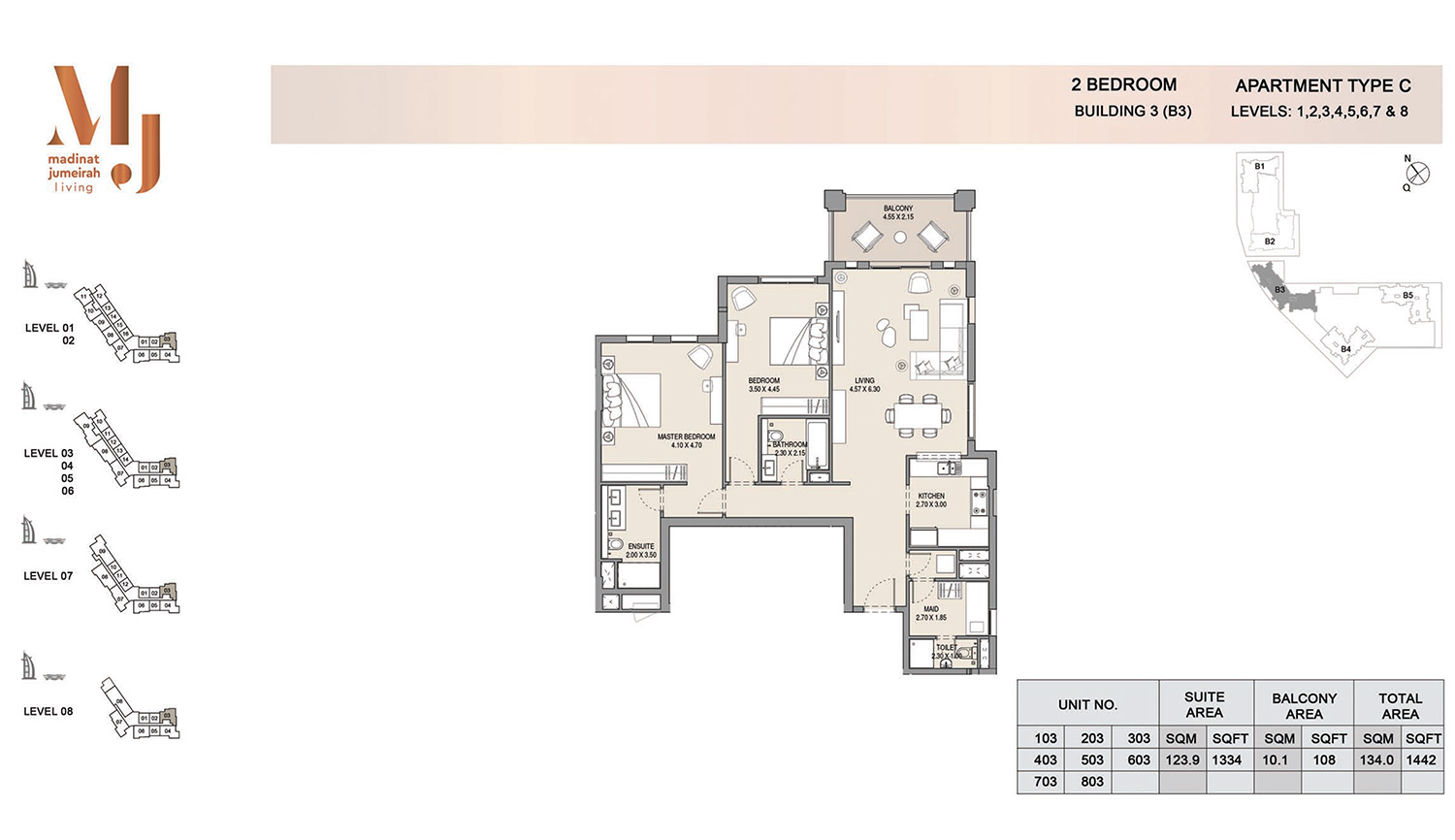 Building3 2 Bedroom, Type C, Levels 1 to 8, Size 1442 sq.ft