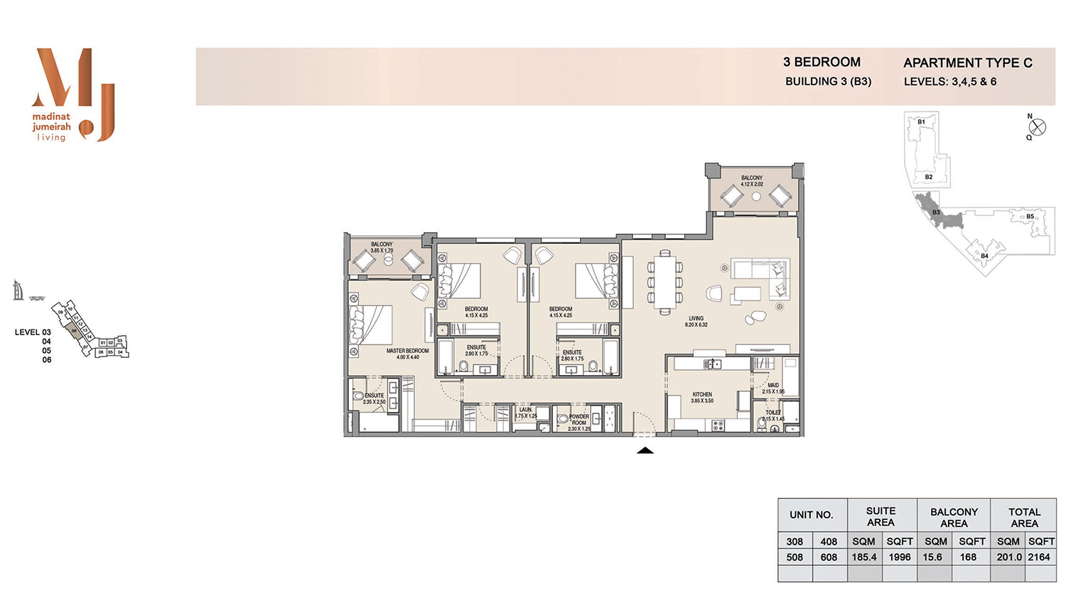 Building3 3 Bedroom, Type C, Levels 3 to 6, Size 2164 sq.ft