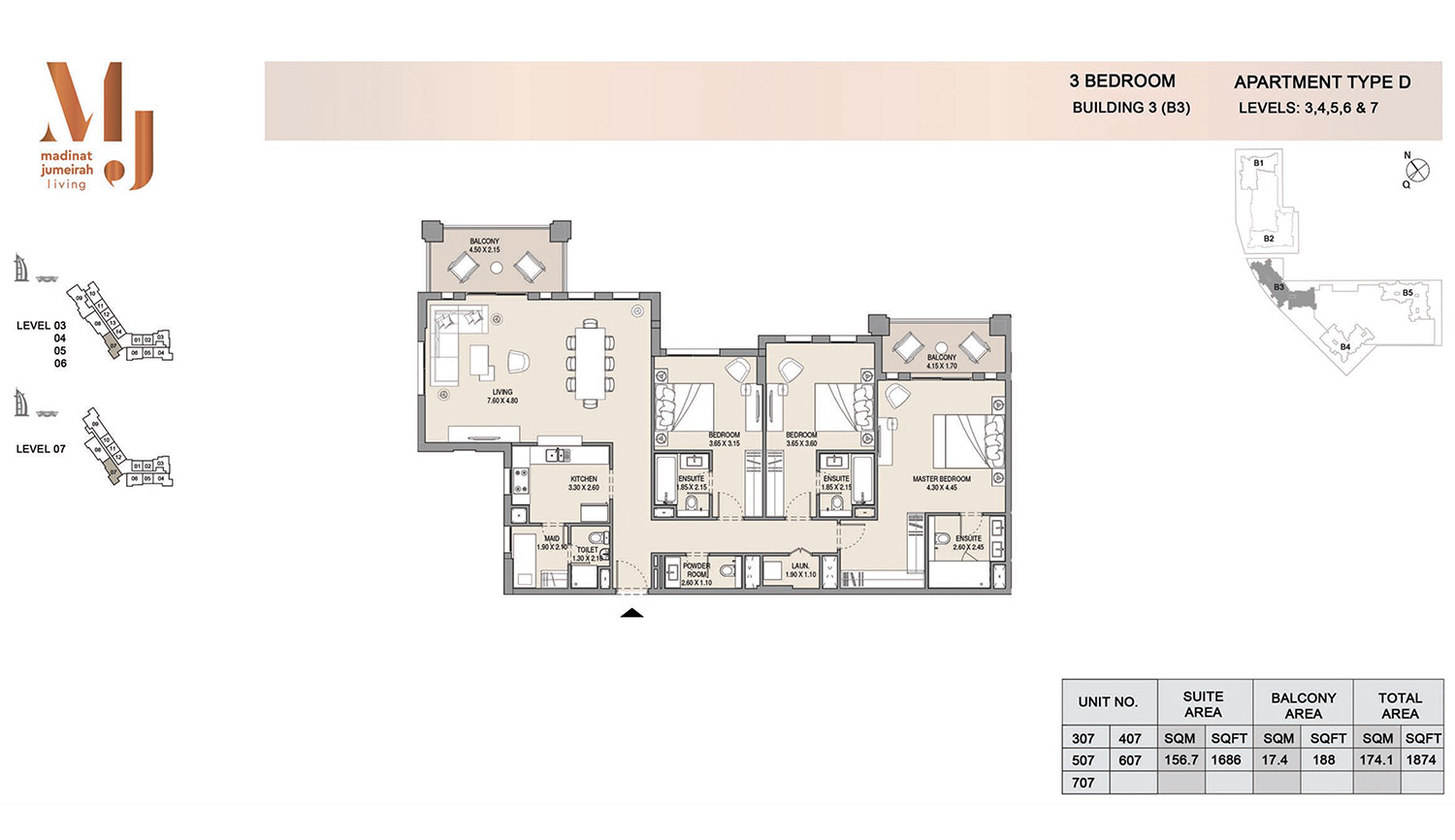 Building3 3 Bedroom, Type D, Levels 3 to 7, Size 1874 sq.ft