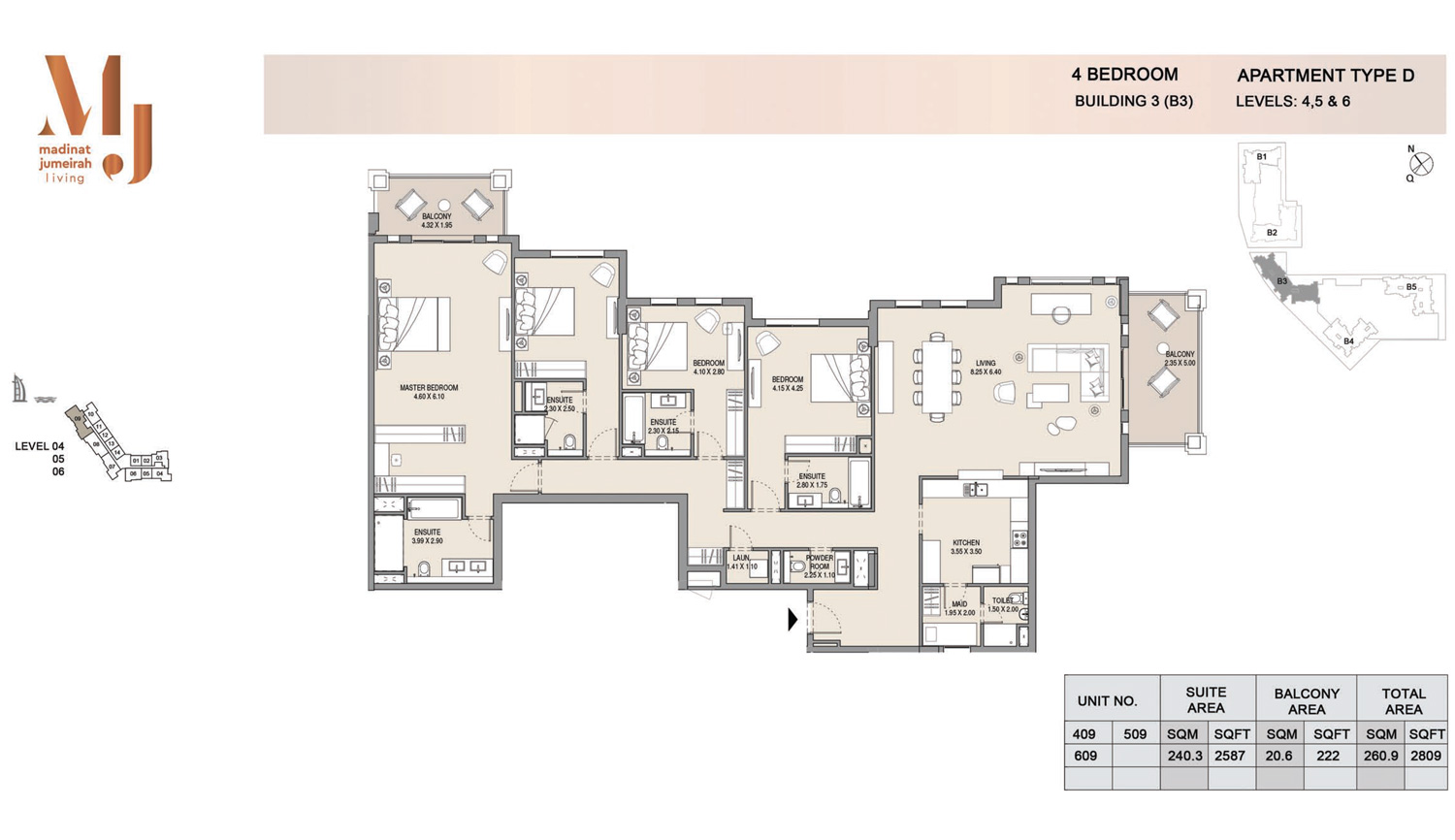 Building3 4 Bedroom, Type D, Levels 4 to 6, Size 2809 sq.ft