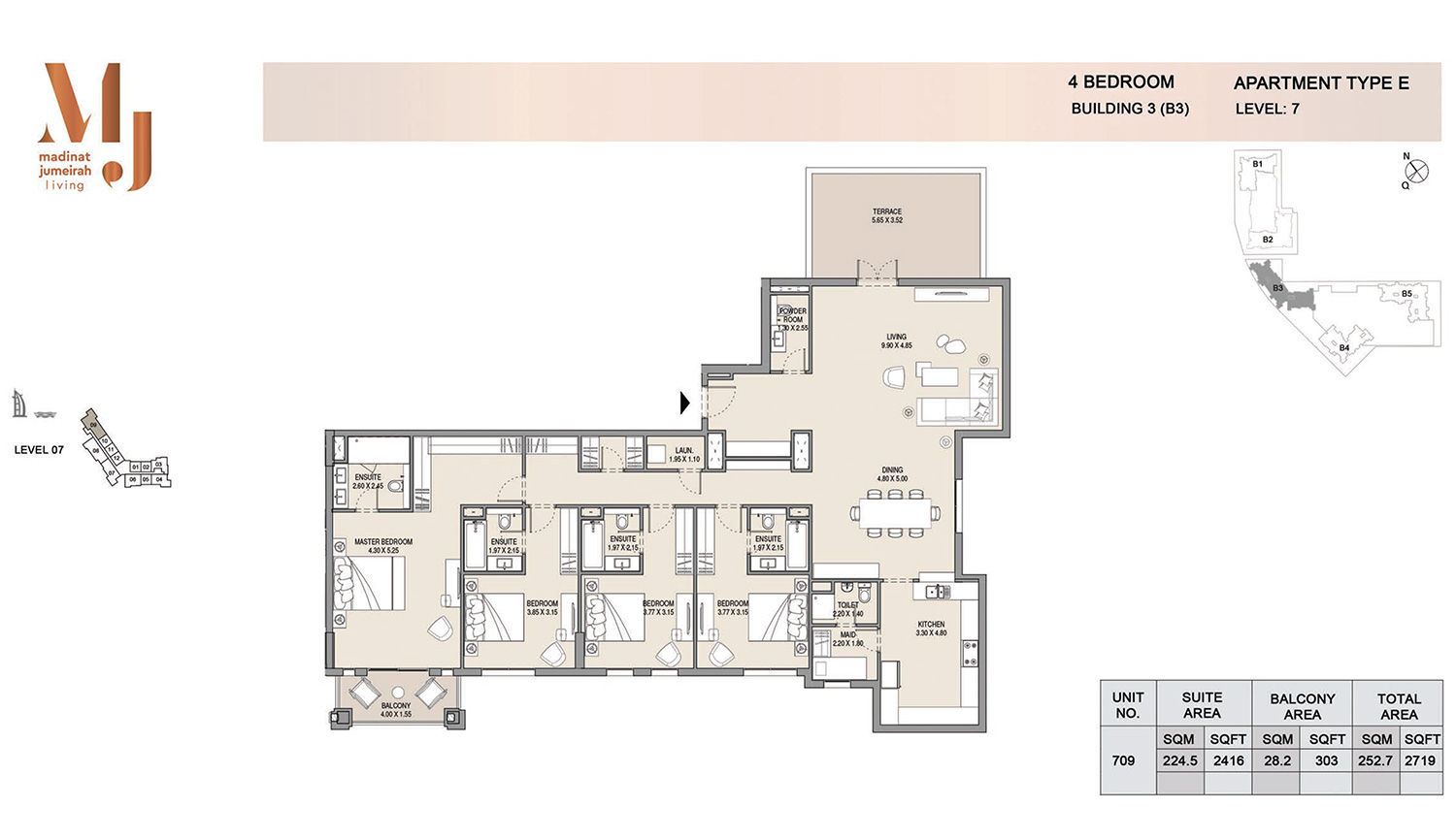 Building3 4 Bedroom, Type E, Levels 7, Size 2719 sq.ft