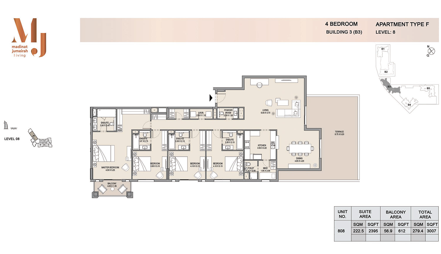 Building3 4 Bedroom, Type F, Levels 8, Size 3007 sq.ft