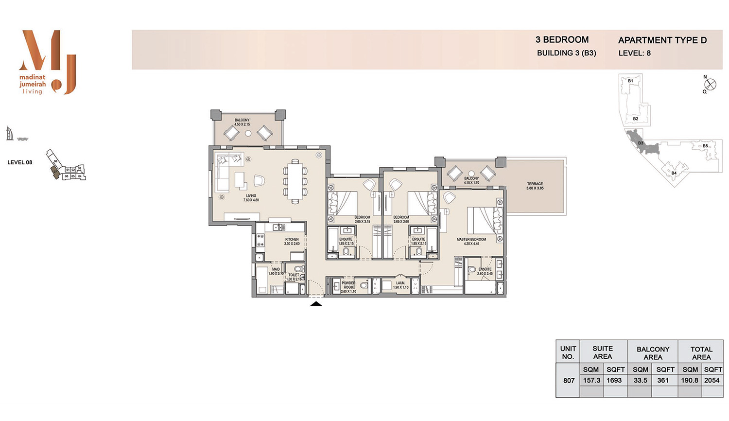 Building3 3 Bedroom, Type D, Levels 8, Size 2054 sq.ft