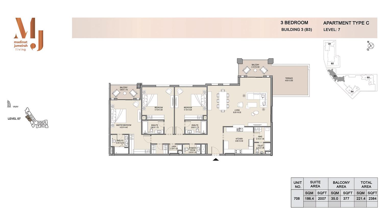 Building3 3 Bedroom, Type C, Levels 7, Size 2384 sq.ft