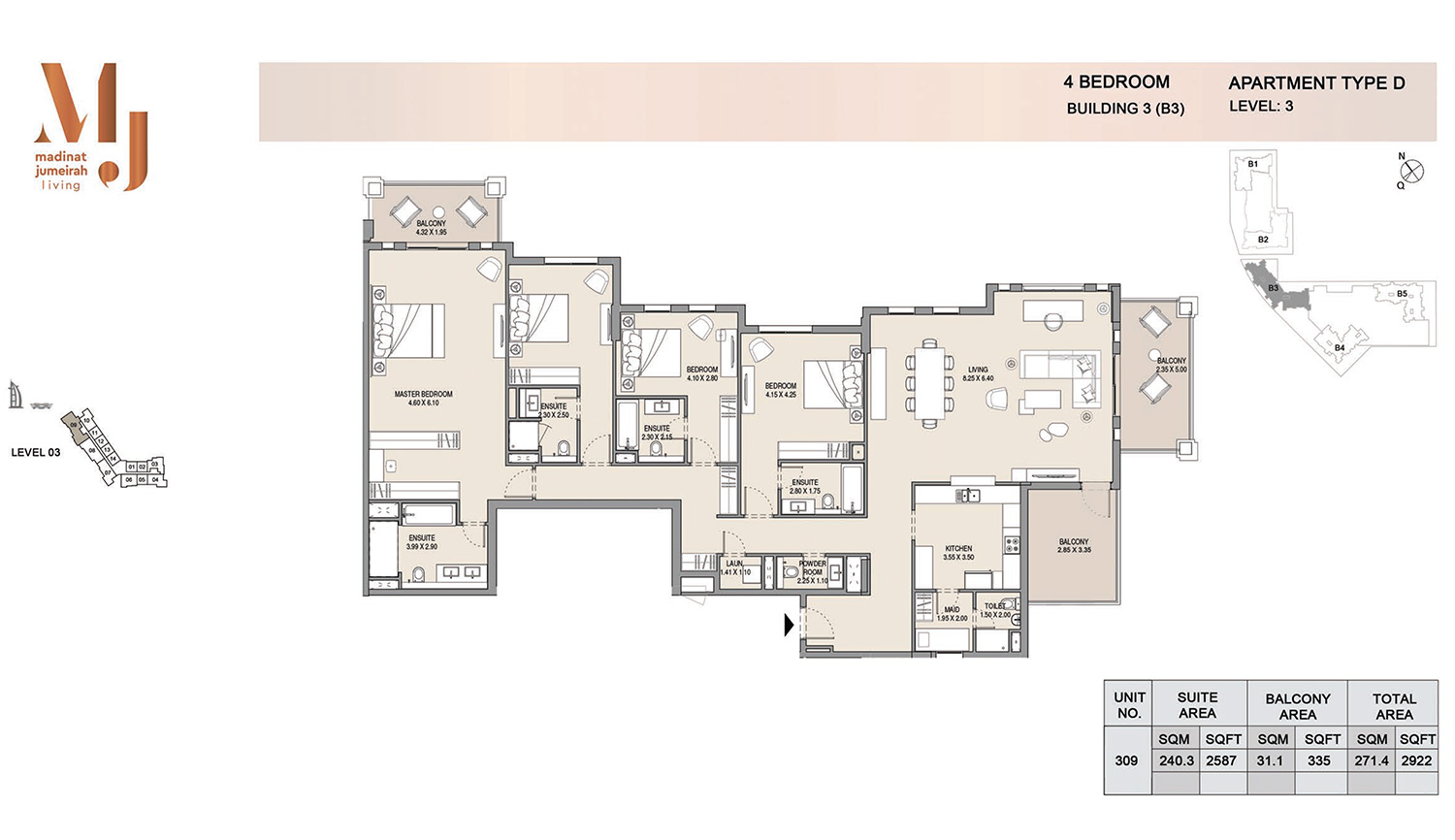 Building3 4 Bedroom, Type D, Levels 3, Size 2922 sq.ft