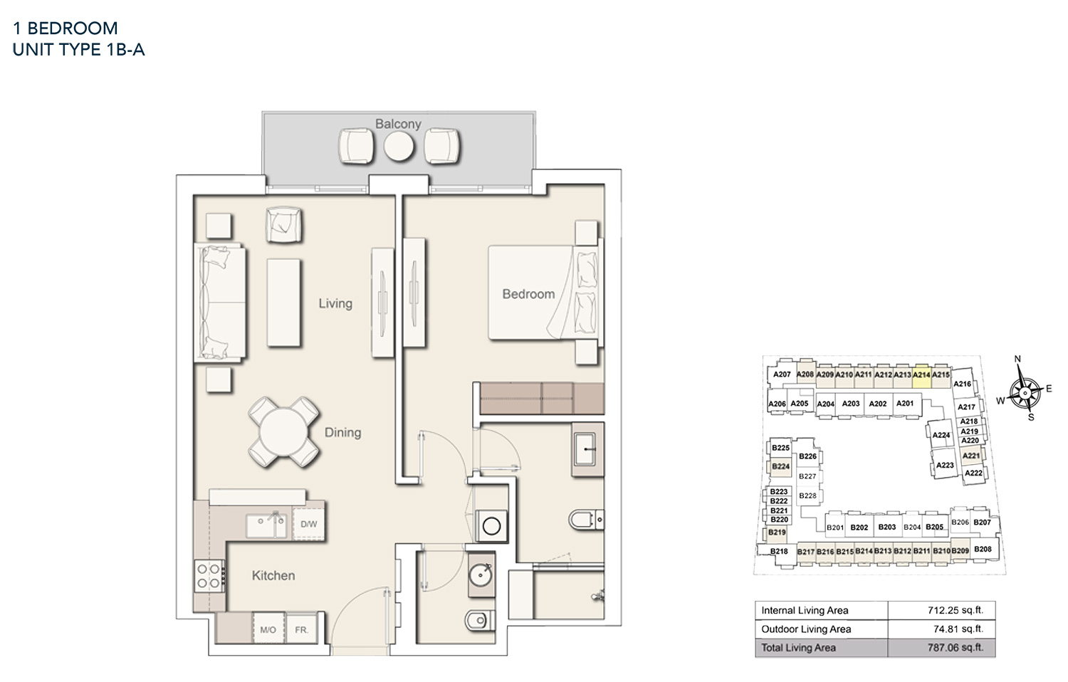 1 Bedroom  Unit Type - 1B A, Size 787.06 sq.ft.