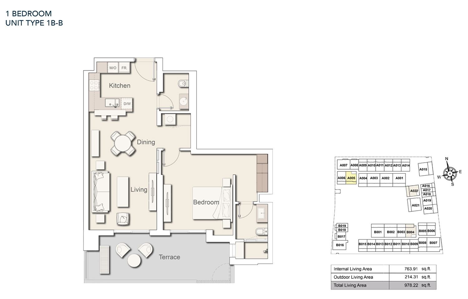 1 Bedroom  Unit Type - 1B B, Size 978.22 sq.ft.