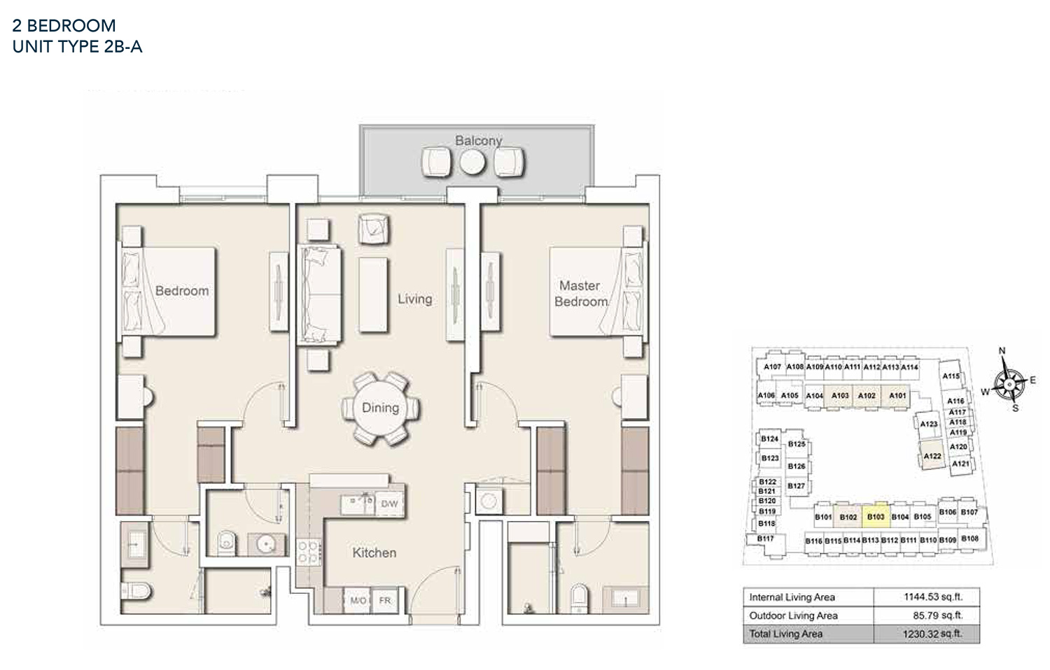 2 Bedroom  Unit Type - 2B A, Size 1230.32 sq.ft.