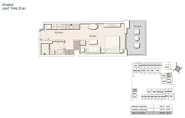 Studio  Unit Type - ST A1, Size 539.38 sq.ft.