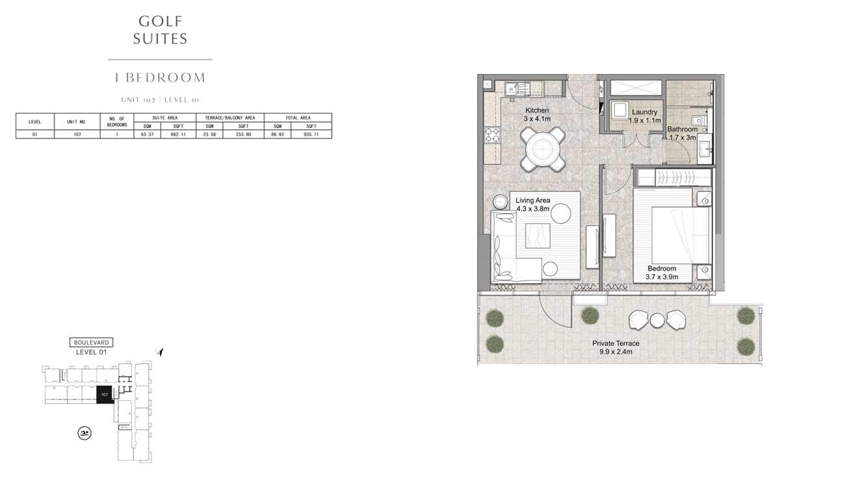 1 Bedroom UNIT-107-LEVEL-01