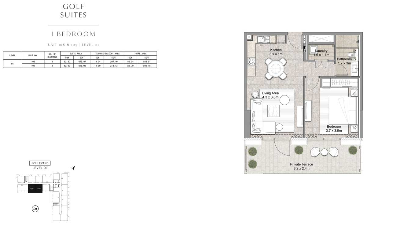 1 Bedroom UNIT-108-109-LEVEL-01