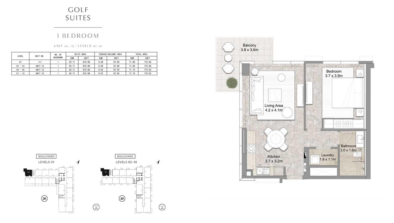 1 Bedroom UNIT-111-12-LEVELS-01-10