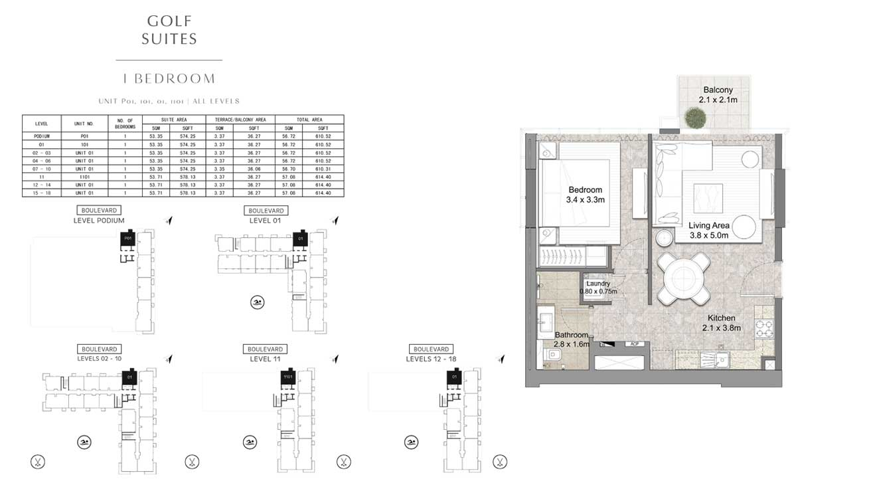 1 Bedroom UNIT-P01-1-01-01-11-01-ALL-LEVELS