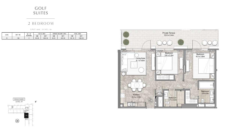 2 Bedroom UNIT-106-LEVEL-01