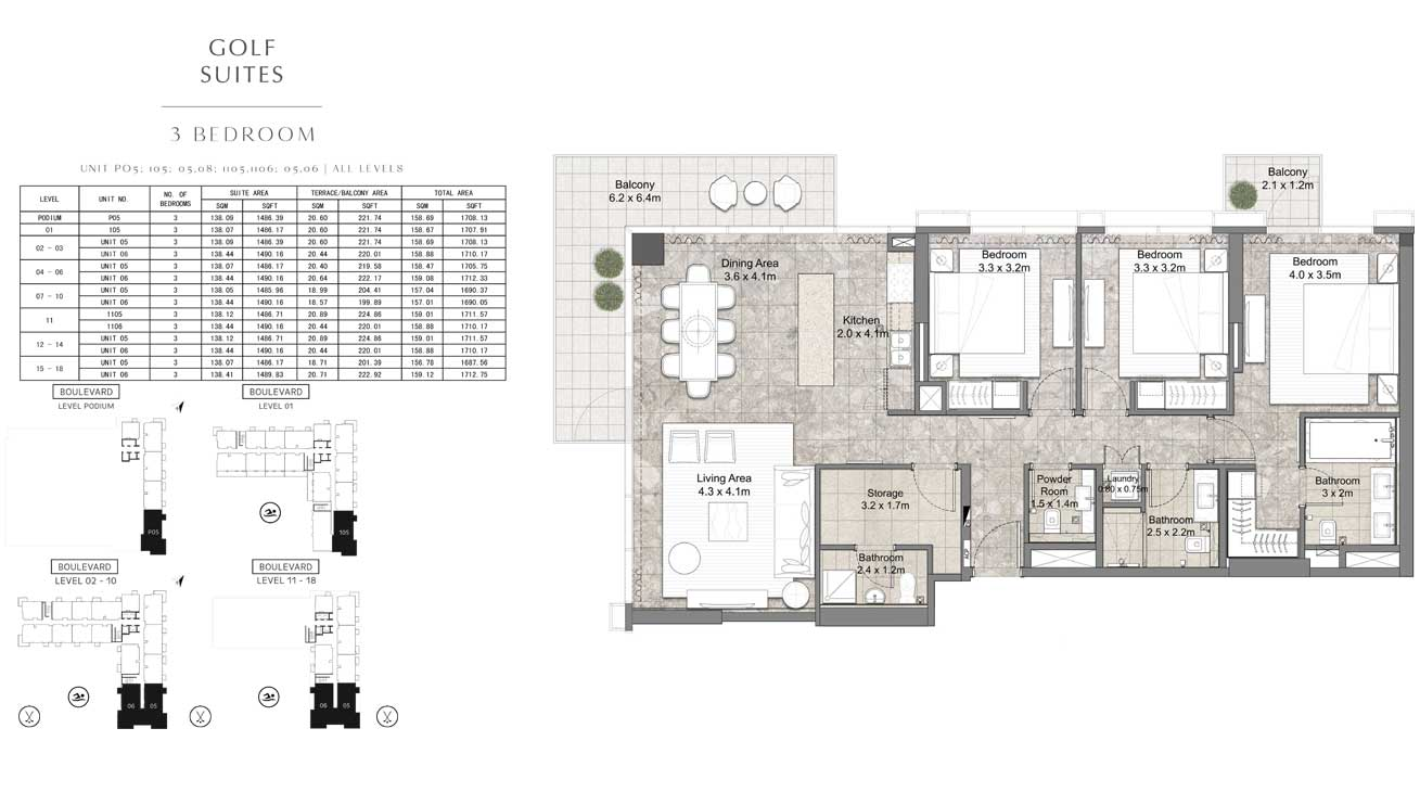 3 Bedroom UNIT-PO5-105-05-08-1105-1106-05-06-ALL-LEVELS