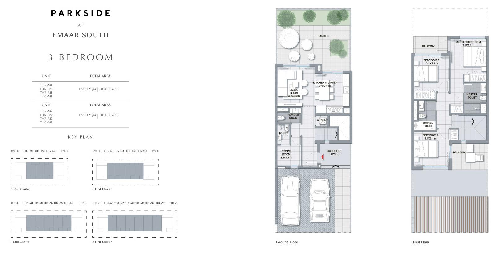 3 Bedroom  Size 1854.73 sq.ft