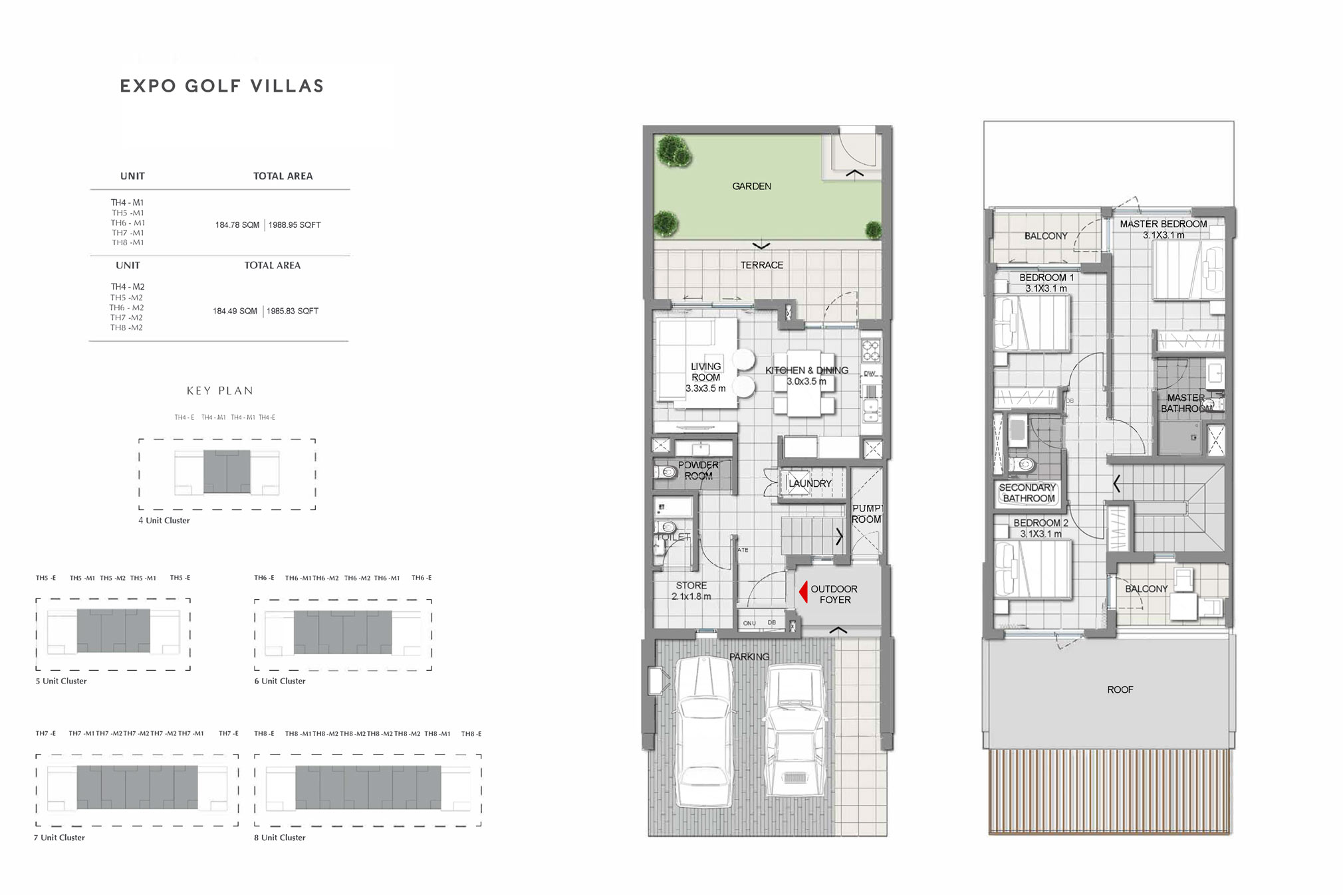 3 Bedroom - Sizes: 1,985 - 1,992 Sq Ft