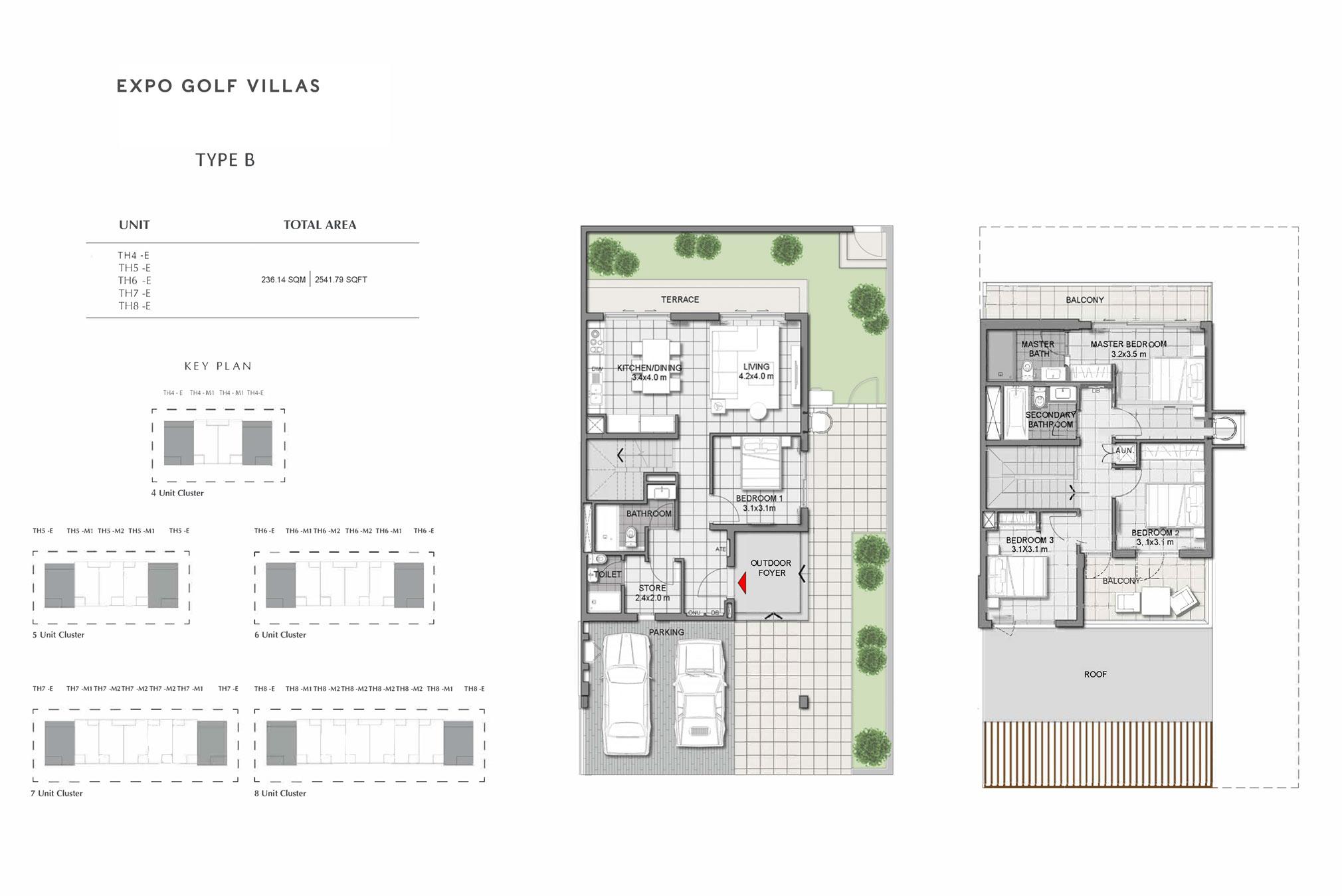 4 Bedroom: 2,541 - 2,542 Sq Ft