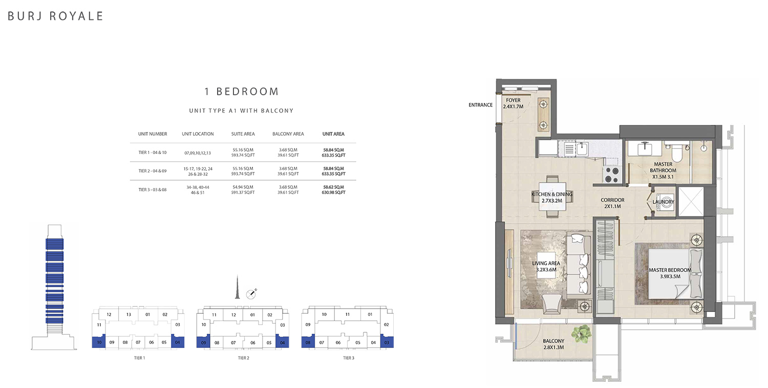 1 Bedroom Type A1, Size 630.98 sq ft