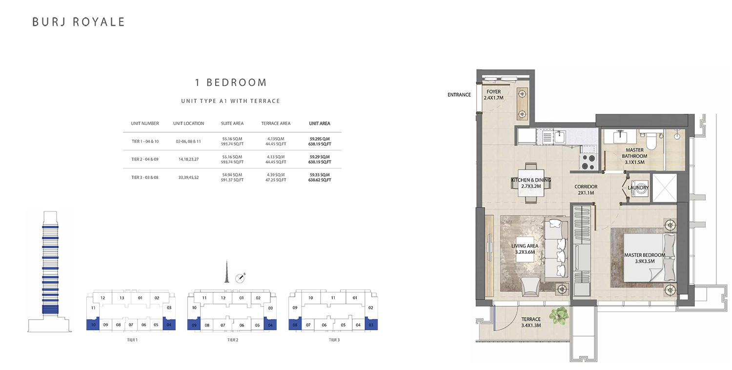 1 Bedroom  Type A1, Size 638.62 sq.ft