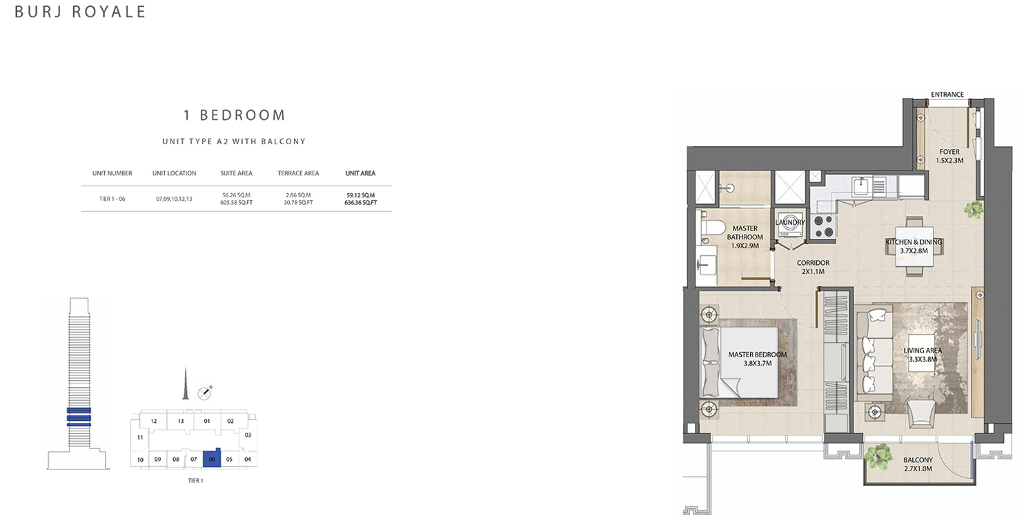 1 Bedroom  Type A2, Size 636.36 sq ft