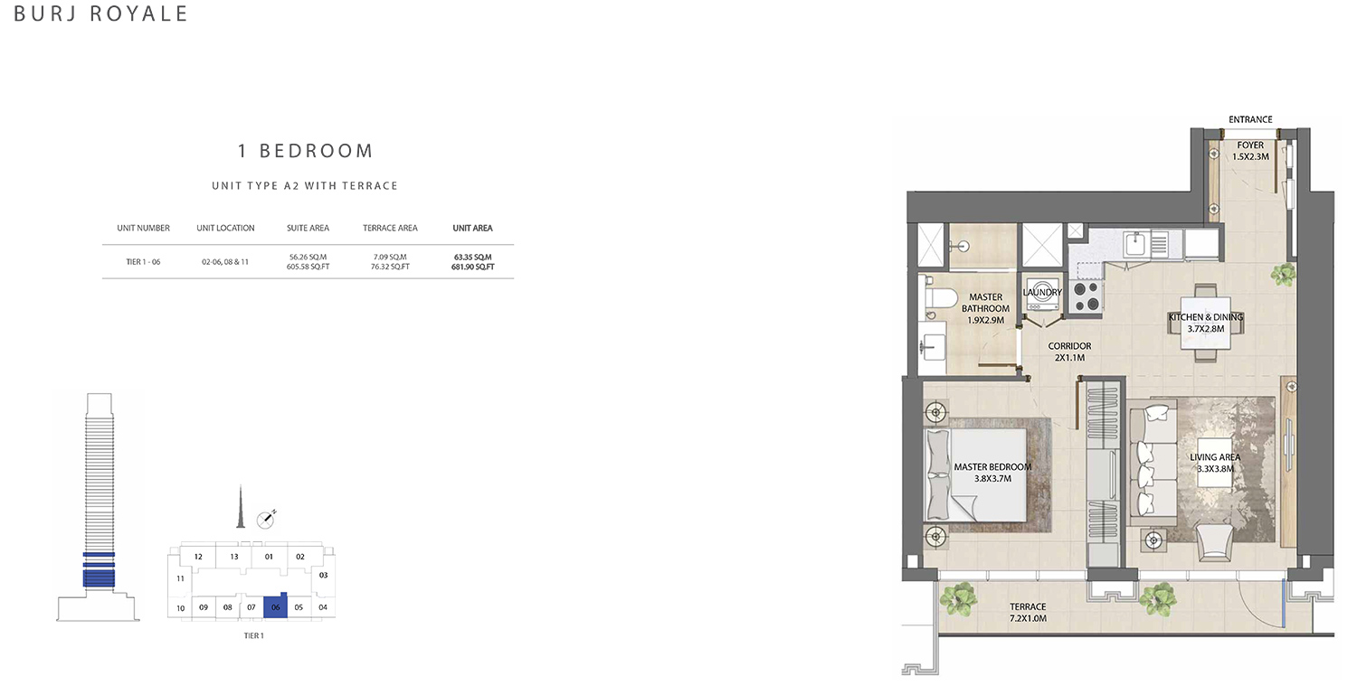 1 Bedroom Type A2, Size 681.90 sq ft