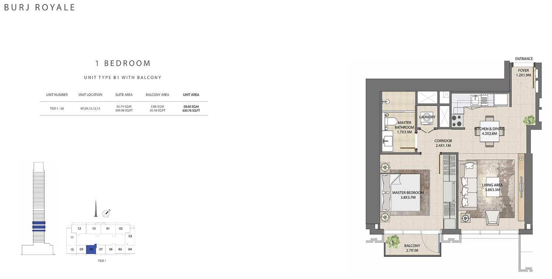 1 Bedroom  Type B1, Size 630.76 sq ft