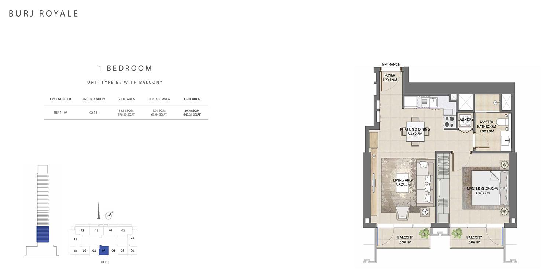 1 Bedroom Type B1, Size 640.24 sq ft