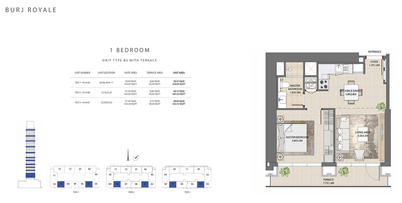 1 Bedroom  Type B1, Size 652.72 sq ft
