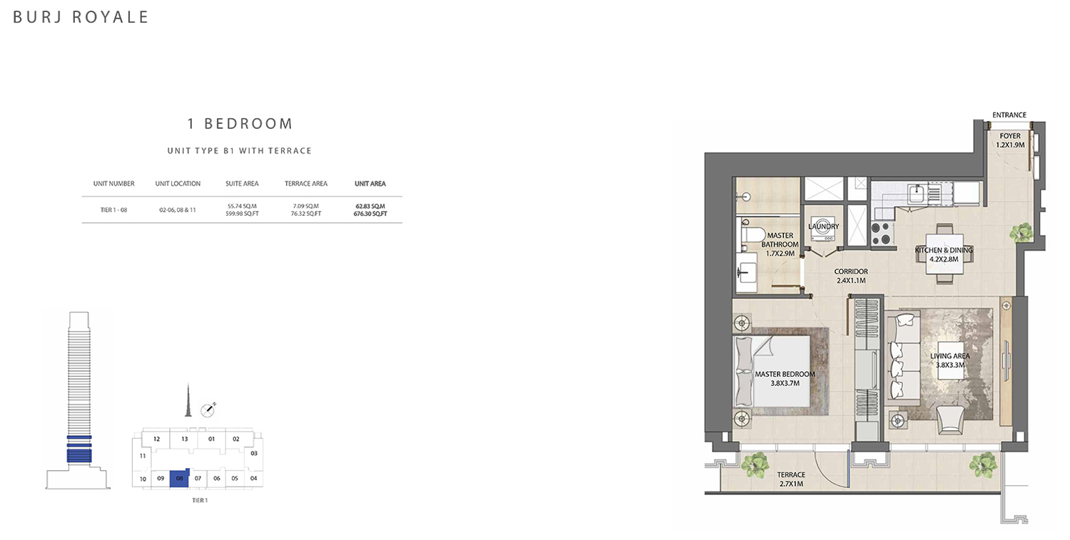 1 Bedroom   Type B1, Size 676.30 sq ft
