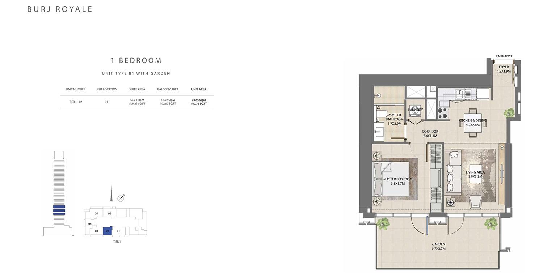 1 Bedroom  Type B1, Size 792.76 sq ft