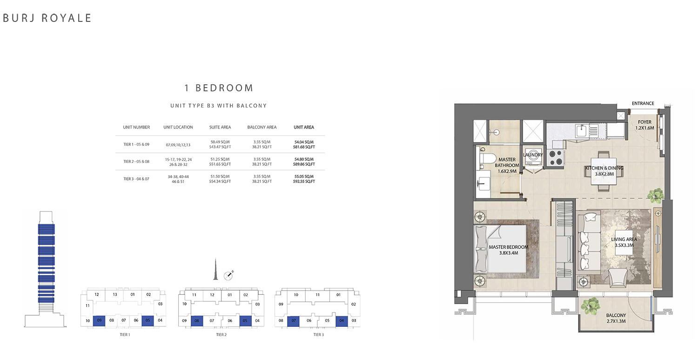1 Bedroom  Type B3, Size 592.55 sq ft