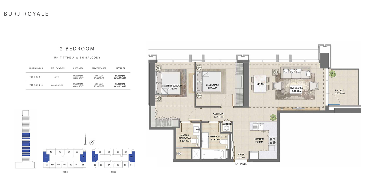 2 Bedroom  Type A, Size 1038.50 sq ft