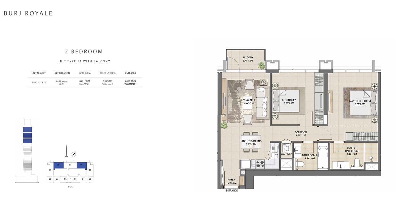 2 Bedroom  Type B1, Size 965.20 sq.ft