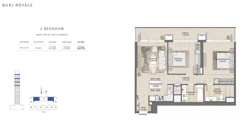 2 Bedroom  Type B1, Size 1090.27 sq ft