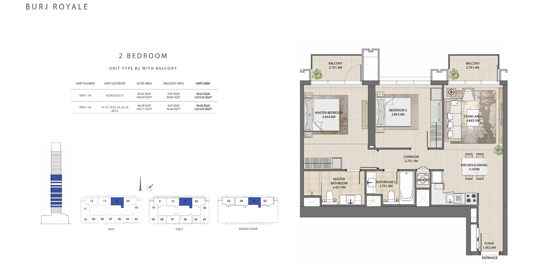 2 Bedroom  Type B2. Size 1015.57 sq.ft