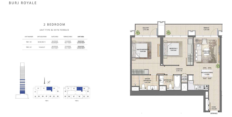 2 Bedroom  Type B2, Size 1076.82 sq ft