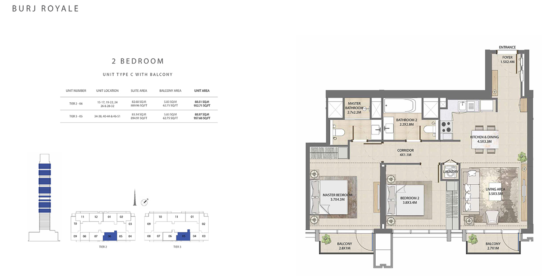 2 Bedroom  Type C, Size 957.66 sq ft