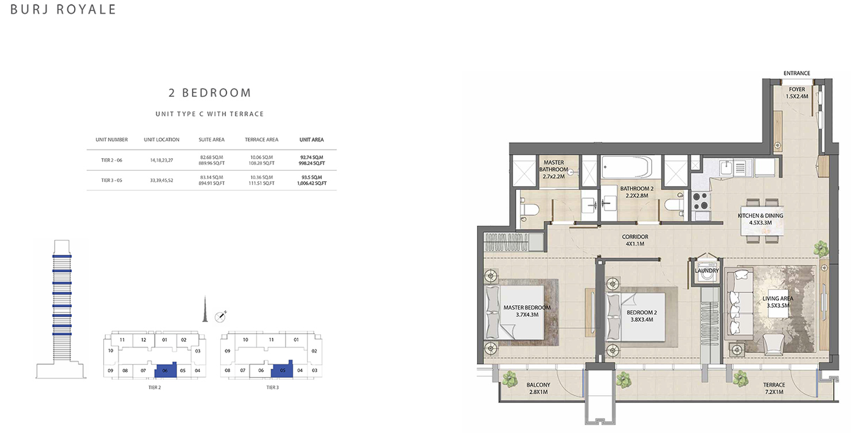 2 Bedroom  Type C, Size 1006.42 sq ft