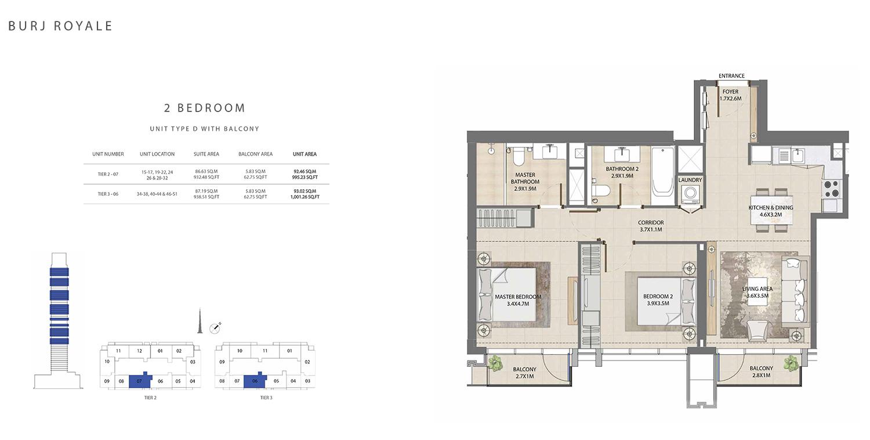 2 Bedroom  Type D, Size 1001.26 sq ft