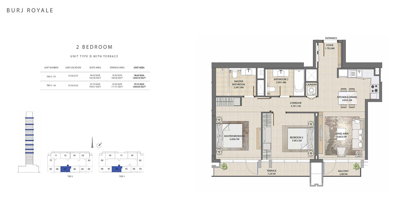 2 Bedroom  Type D, Size 1050.02 sq ft