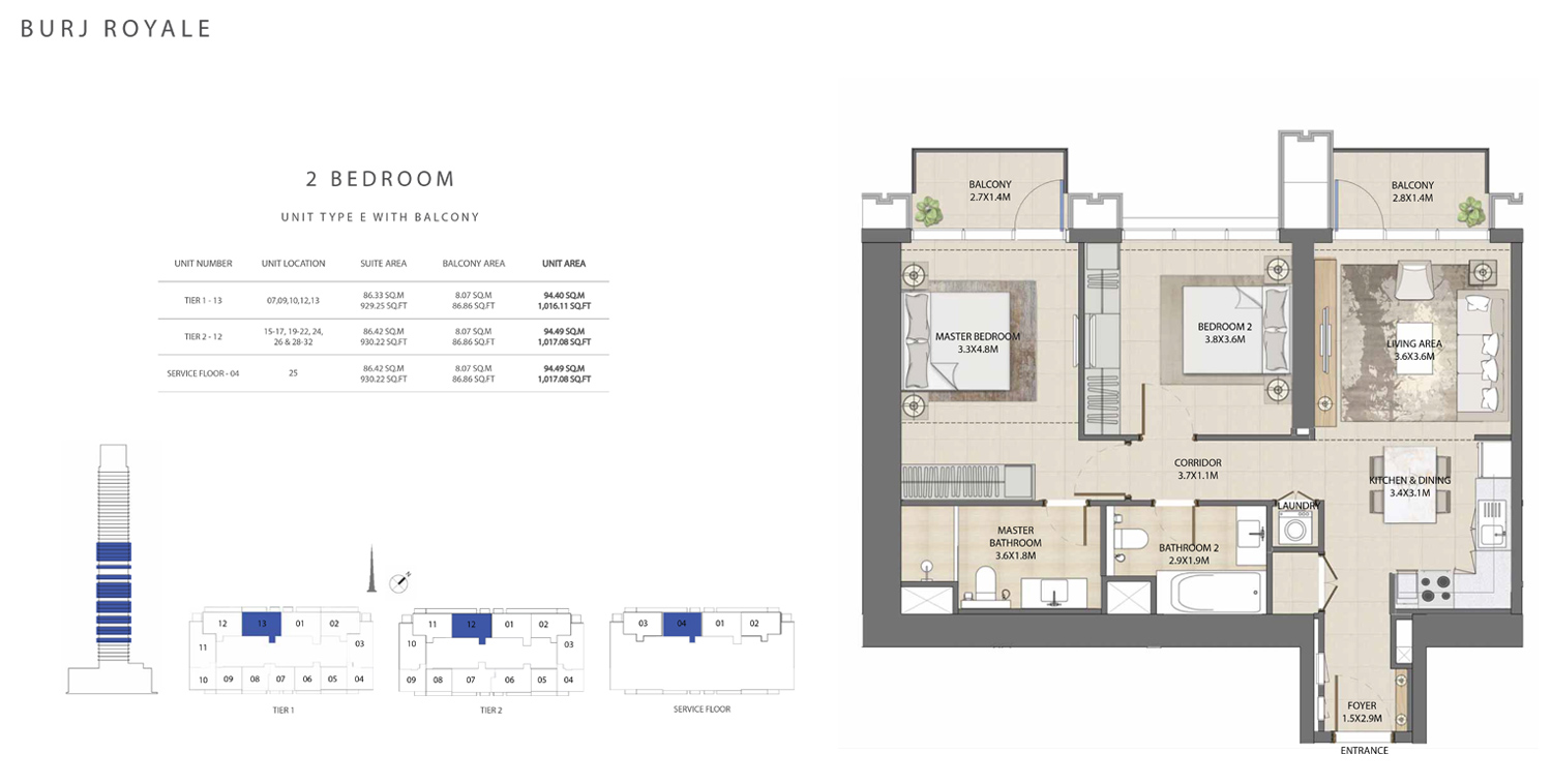 2 Bedroom  Type E, Size 1017.08 sq ft