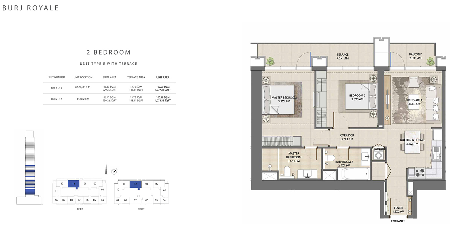 2 Bedroom Type E, Size 1078.33 sq ft