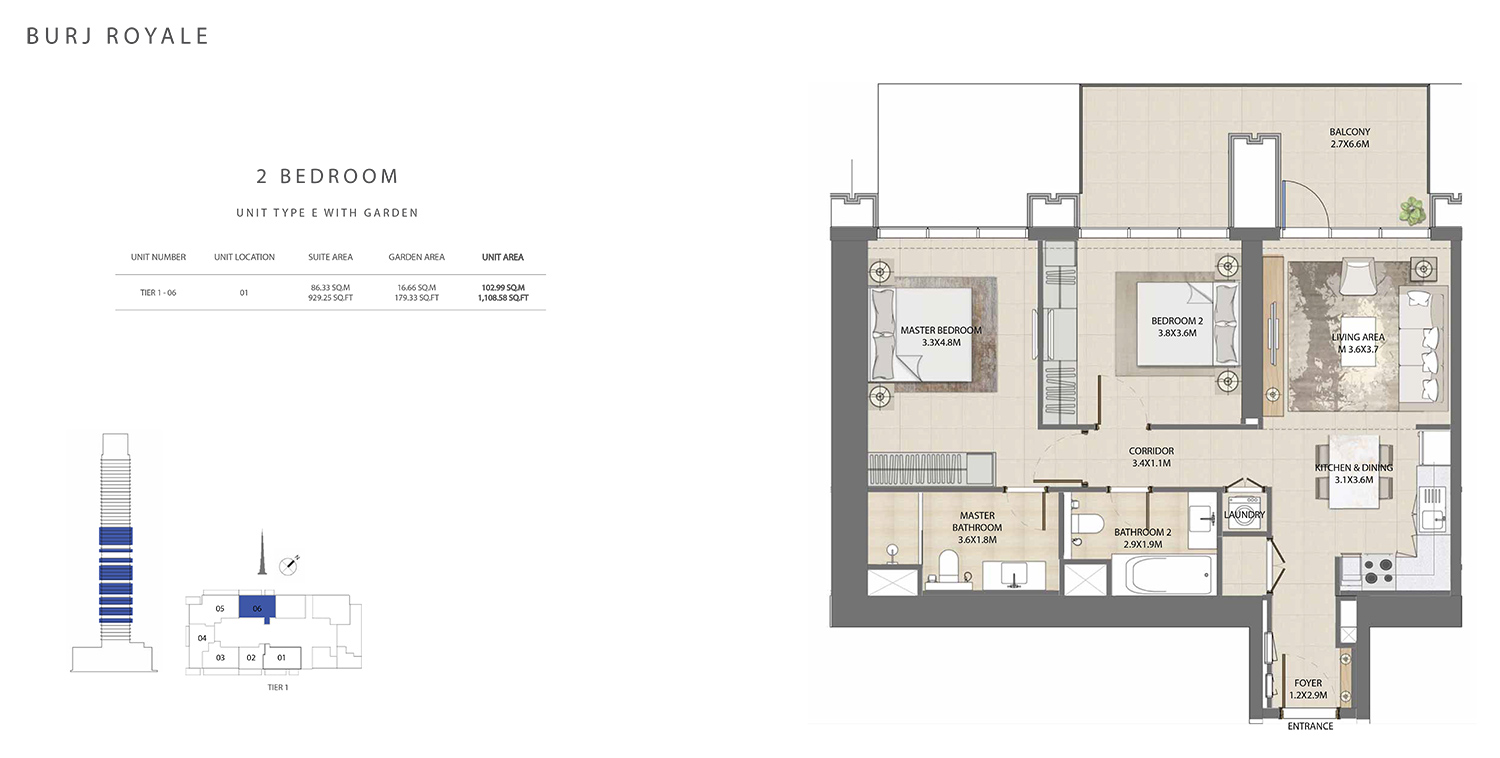 2 Bedroom  Type E, Size 1108.58 sq ft