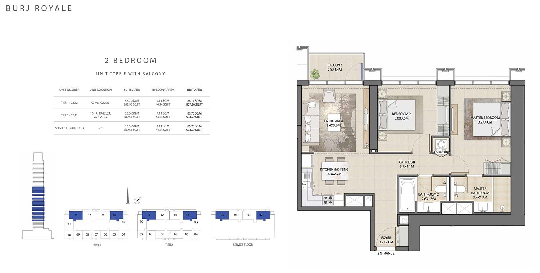2 Bedroom Type F, Size 933.77 sq ft