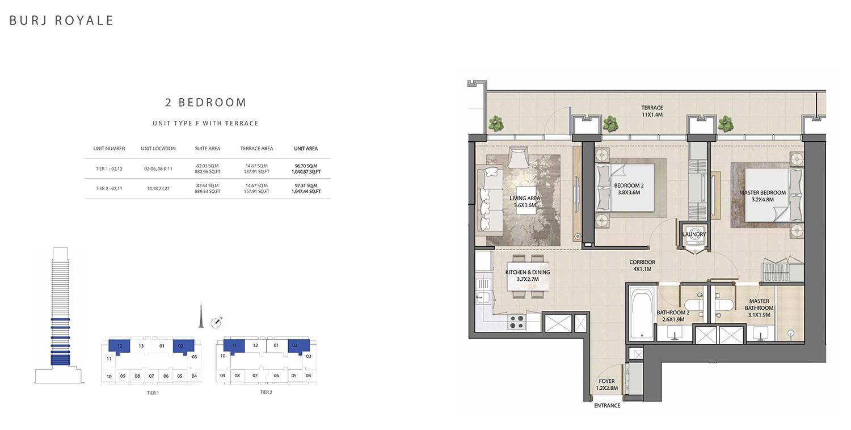 2 Bedroom Type F, Size 1047.44 sq ft