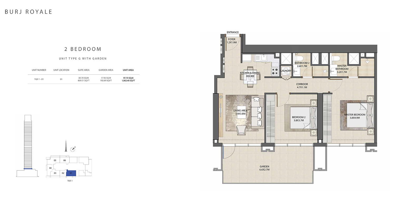 2 Bedroom  Type G, Size 1062.40 sq ft